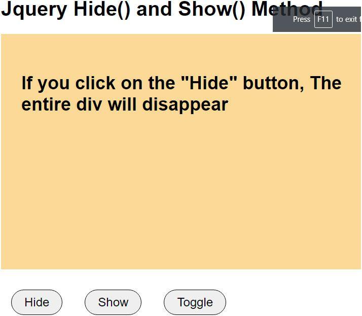 jquery hide show